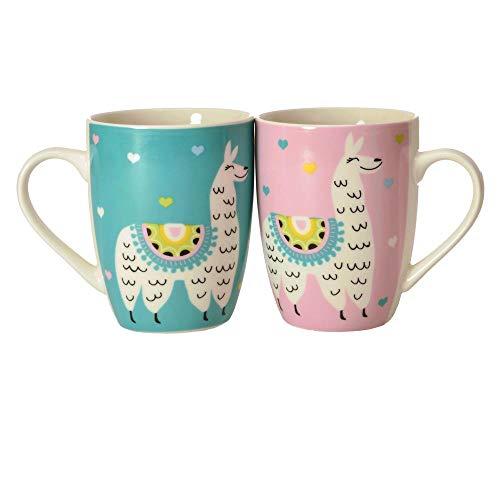 2er Set Lama Kaffeebecher in türkis und rosa - Alpaka Kaffeetasse