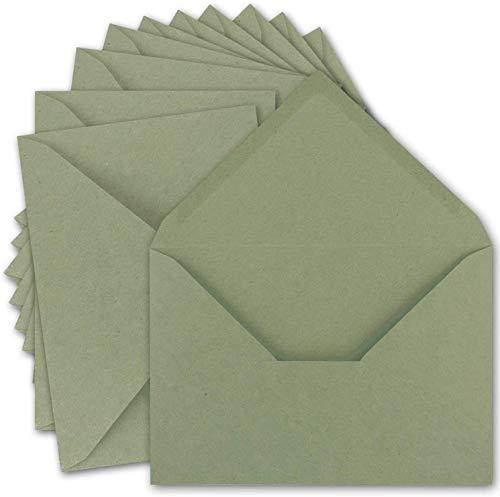 15x Vintage Brief-Umschläge DIN C5 Kraftpapier 120 g/m² - 157 x 225 mm - grün Recycling - Nassklebung Spitzklappe I UmWelt by GUSTAV NEUSER®