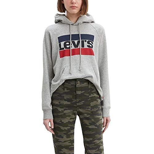 Levi's Damen Graphic Sport Sweatshirt Hemd, Sportswear Logo Track Hoodie Smokestack Heather, X-Large