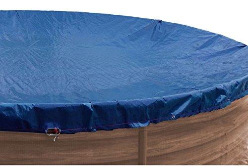 well2wellness® Premium Abdeckplane blau/schwarz für Rundbecken mit Durchm. 3,50-3,60 m