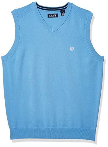 Chaps Men's Cotton V-Neck Sweater Vest, Chatham Blue, X-Large