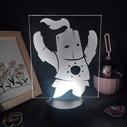 Lámpara de ilusión 3D Mood Led Luz de noche Dark Souls Figura de juego Solaire Astora Rgb para la decoración de la habitación de un amigo-Base negra_con control remoto