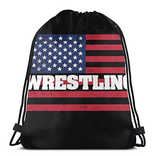 N / A Wrestling Usa Flag - Wrestling Jugendliche Drawstring Backpack Kordelzug Rucksack Tasche Verstellbar Gym Bag Tasche Gymsack Sporttasche Für Damen Herren