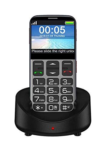 Teléfono móvil 3G con botón grande para personas mayores, teléfono móvil para personas mayores desbloqueado, con botón de emergencia SOS, altavoz de volumen alto, botón grande, números parlantes, bas