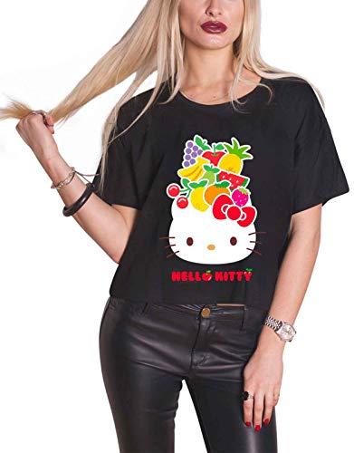Hello Kitty Offizielles Sanrio Frauen Fruit Hat Kurzes Oberteil T-Shirt - Schwarz