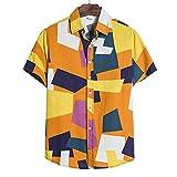 Hawaiana Camisa Hombre Moderna Holgada Cuello V Hombre T-Shirt Verano Cárdigan Vintage Estampado Hombre Manga Corta Urbano Casual Vacaciones Hombre Playa Shirt TC72-Yellow XL