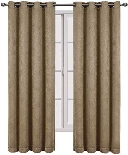 Royal Hotel Bella Taupe Grommet Blackout Weave Embossed Window Curtain Panels, Pair/Set of 2 Panels, 52x84 inches Each
