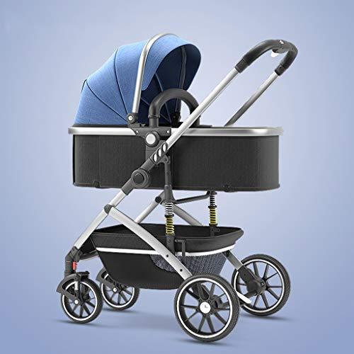 YXCKG Cochecito de bebé de Lujo 2 en 1 Cochecito De Bebé Plegable, Cochecito Ligero Cochecito de bebé de Alta Vista con Cesta de Almacenamiento, Sistema de Viaje con Paraguas