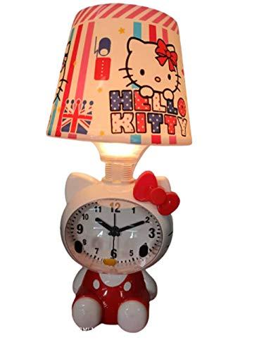 Lámparas de mesa LED rosa y rojo Hello Kitty con marco de fotos para niños, dormitorio, mesita de noche, color rosa