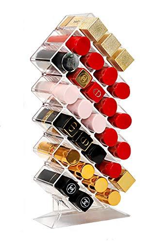 28 Slots Fish Shape Lipstick Organizer , Display Lipstick Holder, Arylic Lipstick Organizers and Storage 16 Spaces Display Rack, Cosmetic Beauty Vanity Holder Storage for Lipstick, Brushes and small Jewelry