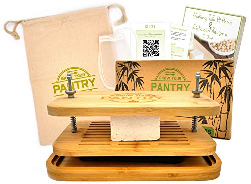 Tofu Press By Grow Your Pantry - Bamboo Wooden Design with a Stainless Steel Screw System - Bonus Tote Bag for Storage and Ebook Guide.