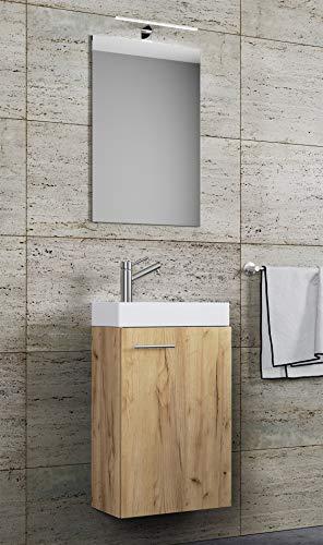 VCM Waschplatz Waschbecken Schrank + Spiegel WC Gäste Toilette Badmöbel klein schmal Slito Spiegel Honig-Eiche