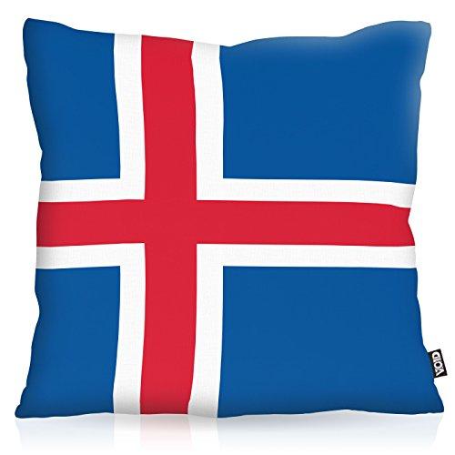 VOID Island Iceland Polyester Kissenbezug Flagge Fahne Fan-Kissen Kissenhülle Outdoor Indoor Bunt, Kissen Größe:40 x 40 cm