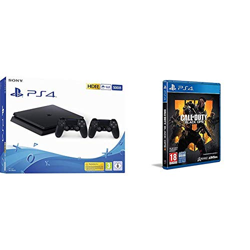 Playstation 4 (PS4) - Consola 500 Gb + 2 Mandos Dual Shock 4 (Edición Exclusiva Amazon) - nuevo chasis F + Call of Duty: Black Ops IIII + Tarjeta de visita exclusiva (Edición Exclusiva Amazon)
