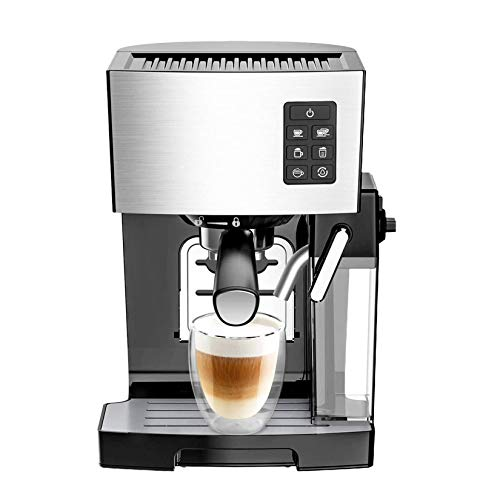 Denghl Programmable Function 1250W Espresso Machine Coffee Maker, with Self-Cleaning System, Small Commercial steam Milk Froth Machine