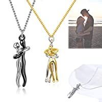 2PCS Couple Hugging Pendant Necklace, Couple Necklaces His and Hers Hugging Pendant, Women Men Fashion Couple Jewelry (2pcs Necklace(Silver+Gold))