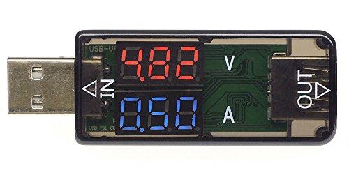 KAUMO USB電流電圧計 数値が大きくはっきり見えるシンプル設計 ディスプレイ 赤/青 KM-UA297