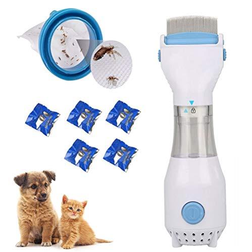 Flohkamm für Hunde, Katzen, Welpen, Kätzchen, elektrischer Haustierkopf, Läuse, Flohkamm mit Vakuum, entfernt Läuse und Eier, tötet Läuse, Reinigungswerkzeug, wiederverwendbar, mit 5 Filtern