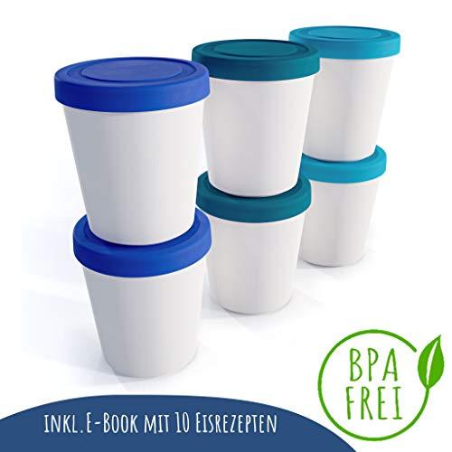 Zwin® 6er-Set Mini-Eiscreme-Gefrierbehälter mit Silikondeckel, Ideal für die Lagerung von Eiscreme, Babynahrung oder als Meal Prep Behälter - BPA frei
