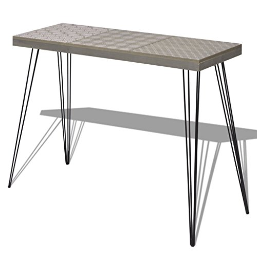 Festnight Retro Konsolentisch Beistelltisch aus MDF + Stahl 90x30x71,5cm als Beistelltisch Telefonst?nder Sideboard Highboard - Grau