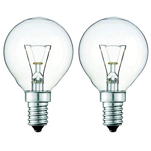 Lot de 2 - Lampe de four 40W pour usage dans un four Miele. 240v. Résistante à la chaleur jusqu'à 300°. Ampoule pour cuisinière SES (E14) petit vis Edison