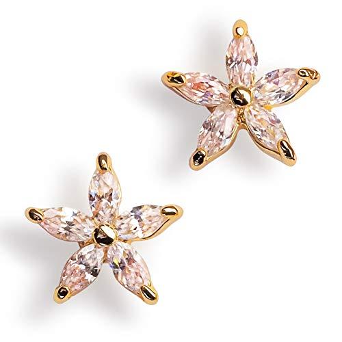 Gold Stud Earrings for Women | 14k Gold Dipped Hypoallergenic Earrings for Girls | Cubic Zirconia Flower Earrings | Nickel Free Gold Earrings Women for Sensitive Ears | Beautifully Gift Boxed