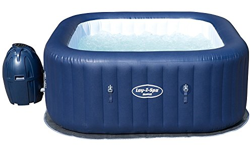 Lay-Z-Spa Hawaii Hot Tub, 120 AirJet Massage System Inflatable Spa with Sociable Square Shape and Rapid Heating, 4-6 Person