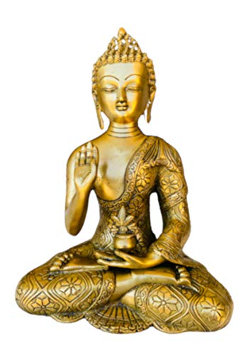 QT S Buddha Brass Statue Blessing Antique Tibetan Buddha 11 in Idol for Peace, Meditation & Protection Traditional Siddhartha Sculpture Handmade in Nepal - Famous in Tibet India China Thai & Buddhism