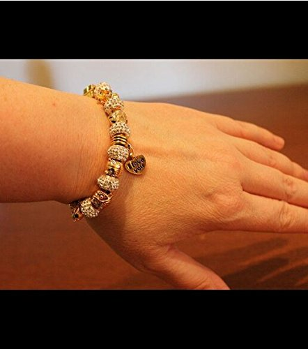 """Long Way Gold Plated Snake Chain Glass Crystal Beads """"I Love You"""" Charm Beaded Bracelets for Women"""