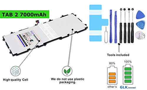 !BLITZVERSAND! Original GLK-Technologies® Akku passend für Samsung GT-7511 Galaxy Tab 2 (10.1) P5100 P5110, SP3676B1A 7000mAh Profi Kit Tool Set 2 Jahre Garantie