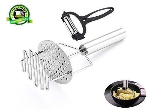 Dr.JONY Potato Masher, Heavy Duty Stainless Steel Perfect Potatoes, Fruits, Ground Meats Vegetables 3 in 1 Peeler, Perfect Any Kitchen