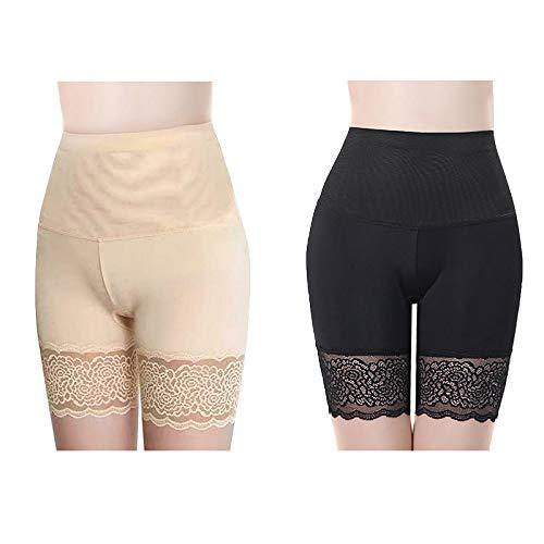 Pantalones Cortos de Seguridad Anti Rozaduras,Protector de Muslos de Seda Helada Anti-Rozaduras,Faldas Cortas de Encaje para Mujer Pantalones de Seguridad Leggings (2PCS, 40-60kg)