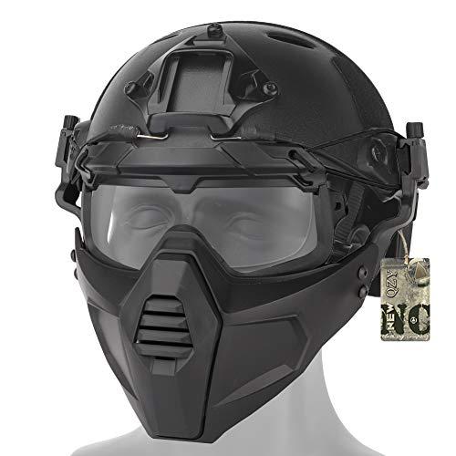 JYNQR Military Taktik 3D Schutzbrille & PJ Fast Helm w Maske,2 Tragevarianten Gesichtsschutz Maske für CQB Airsoft Paintball Schießen,Bk,Mask