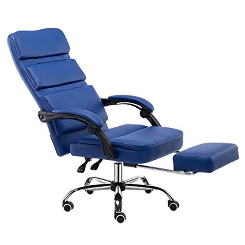 Silla de juegos Silla de oficina Silla de negocios Boss silla de cuero de elevación trasera giratoria silla reclinable estudio conferencia silla oficina azul