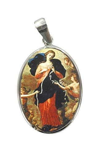 Ferrari & Arrighetti Medalla Virgen Desatanudos de Plata 925 y Porcelana - 3 cm