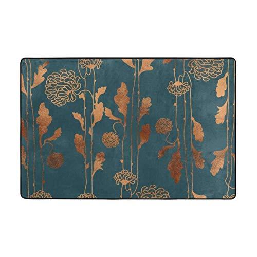 Sunlight DIY Art Deco Kupferblumen Bettdecke Teppich super weich rutschfest Teppich für Schlafzimmer Wohnzimmer Größe 91,4 x 61 cm