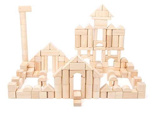 Small Foot 11397 Wooden Building Blocks, Set of 200 Pieces, incl. Bridges, cylinders, Triangles etc, from 1 Year Toys, Multicolored