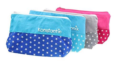 Kulturbeutel Sterne verschiedene Farben 25x17cm mit Namen Kulturtasche Beauty Bag Waschtasche Schminktasche Kosmetiktäschchen personalisiert für Frauen/Damen - Männer/Herren - Kinder Jungen/Mädchen