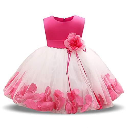 NNJXD Mädchen Tutu Blütenblätter Schleife Brautkleid für Kleinkind Mädchen, Rose 1, 6-7 Jahre/ Etikettgröße- 140