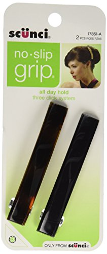 Price comparison product image Scunci No-Slip Grip Auto Clasp Barrettes,  Colors May Vary 2 ea (Pack of 2)
