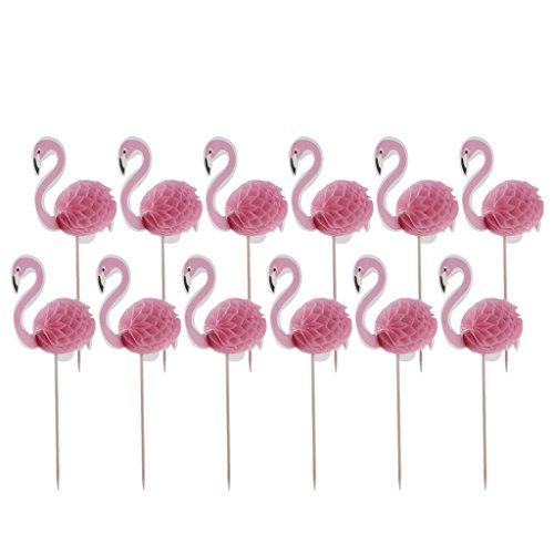 yotijar Paquete de 12 Cupcakes de Flamencos 3D