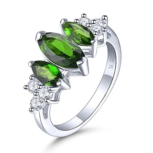 Lohaspie - Anillos de plata de ley 925 para niñas, anillos redondos de piedra natural de cromo diópsido, declaración de compromiso, joyería fina regalo para mujer (1/2)