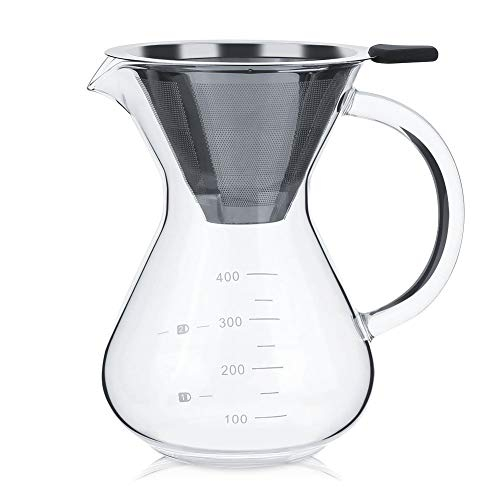 Cafetera Goteo Manual 400ml, Cafetera de Vidrio de Pour Over Coffee Maker con Filtro de acero Inoxidable para Hacer Café de Goteo