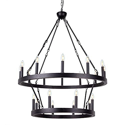 Wellmet Black Wagon Wheel Chandelier 2 Tier, Large Farmhouse Round Pendant Light Fixture Industrial...