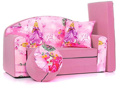 COCO-baby Kindersofa Schaumstoff Spielsofa mit Bettfunktion 3in1 Matratze Spieltisch Sofa Spielzeug ((1SG) PINK Princess)