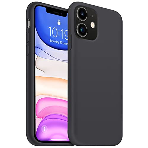 OUXUL iPhone 11 Case,iPhone 11 Liquid Silicone Gel Rubber Phone Case,Compatible with iPhone 11 Case Cover 6.1 Inch Full Body Slim Soft Microfiber Lining Protective Case(Black)