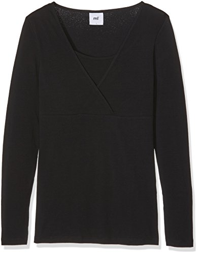 MAMALICIOUS Damen MLLEA Organic TESS L/S TOP NF 2PACK Langarmshirt, Schwarz (Black), 38 (Herstellergröße: M) (2er Pack)