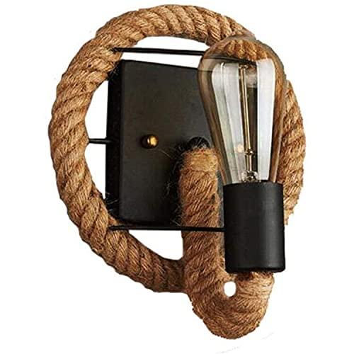 Lampada da parete vintage retrò con corda americana, industriale, in ferro, per dare un tocco personale a bar, loft, ristorante, corridoio, soggiorno, balcone (nessuna fonte luminosa inclusa)