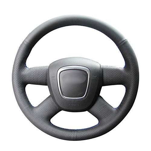 NCUIXZH Cubierta de Volante de Cuero PU Negra Cosida a Mano, para Audi A3 8P Sportback A4 B8 A4 B7 A6 C6 4 radios 2004-2012