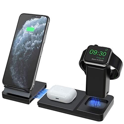 Hoidokly 3 en 1 Cargador inalámbrico Rápido 15W, Qi Inalámbrica Carga Rápida para Apple Watch 5/4/3/2, Soporte de Carga Inalámbrico para iPhone 12/12 pro/11/11 Pro MAX/XS/XR, AirPods Pro(NO Ad
